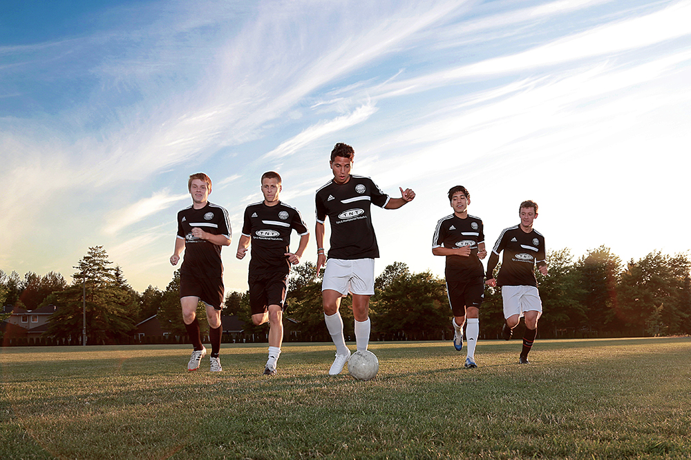 (From left) Todd Hoagland, Joel Grossman, Carlos Alvarez, Oscar Jimenez and Sean Connor play on the Bellingham United soccer team and all attended high school in Skagit Valley.  Brooke Warren / Skagit Valley Herald