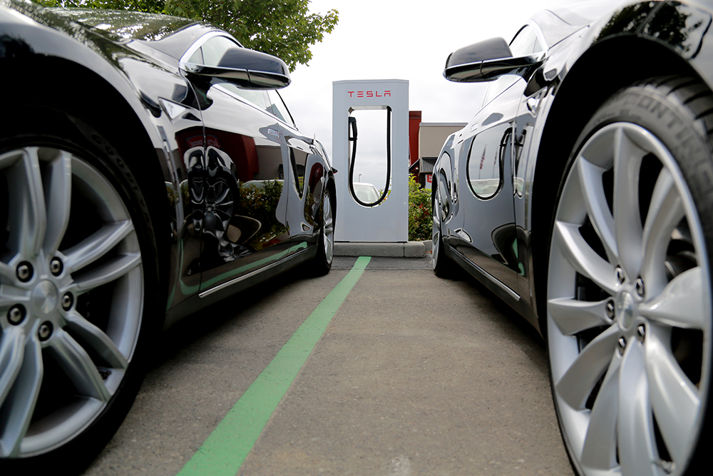 A new Tesla supercharging station for electric cars opened at Fairfield Inn and Suites on Old Hwy 99 on July 18, 2013. The superchargers can fully charge an electric car in about 30 minutes.  Brooke Warren / Skagit Valley Herald