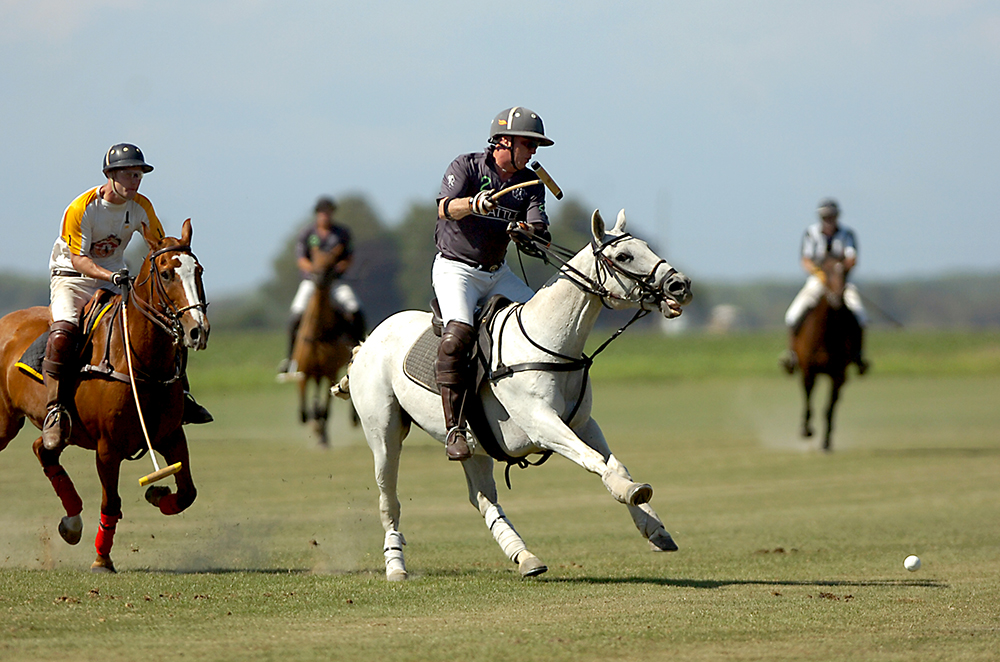 Cameron Smith hits the ball during a match at the Pacific Northwest Polo Association Governor's Cup on Sunday, July 28, 2013 at George Dill's farm in La Conner. Brooke Warren / Skagit Valley Herald