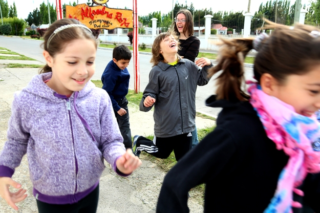"English students play ""Boo,"" a Halloween-themed game similar to Redlight, Greenlight on Oct. 31, 2013. Dora Nuss-Warren teaches students English in small private classes out of her home in Los Antiguos, Argentina. Halloween is an important holiday for English students because it is not a celebrated holiday in Argentina."