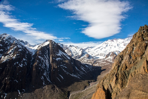 The snow covered peaks in Cajon del Maipo are a destination for skiers, climbers and backpackers. The hydroelectric dam could prevent access and change the environment.