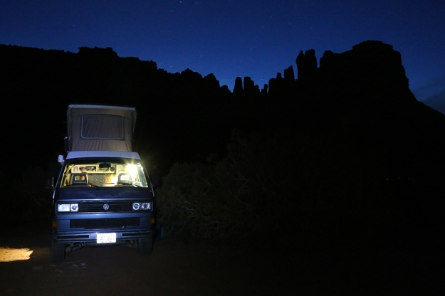 Robert Warren and Michelle Brugiere, who live in their VW van about a third of the year, camped below the Bridger Jack spires. Vans, camper trucks and a variety of other liveable vehicles are common in Indian Creek campsites.