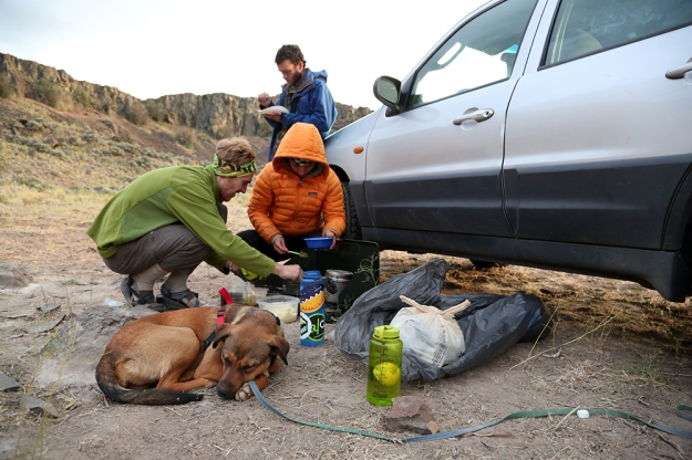 Zach Pike-Urlacher and Ari Blatt make lunch while Annapurna takes a nap, tuckered out from hiking in the hot sun.