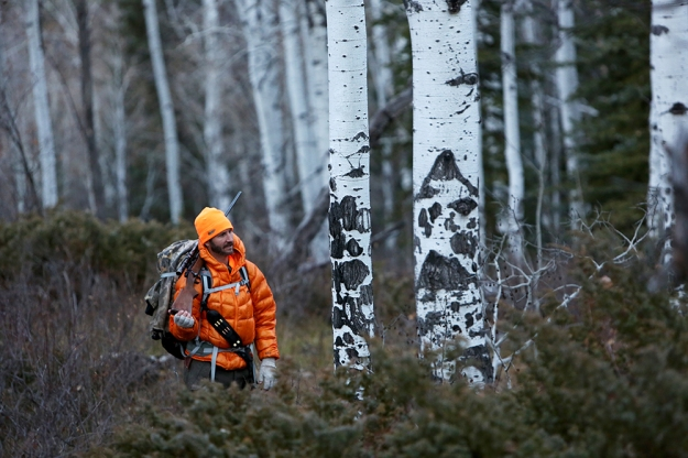 Brian Calvert searches for elk in the West Elks wilderness. This was the first time he has gone out hunting since childhood.