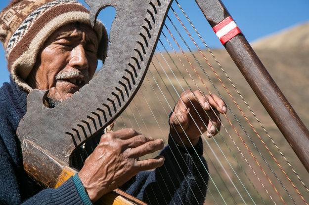 Victor Ayma Qoyso plays the harp. Brooke Warren 2014