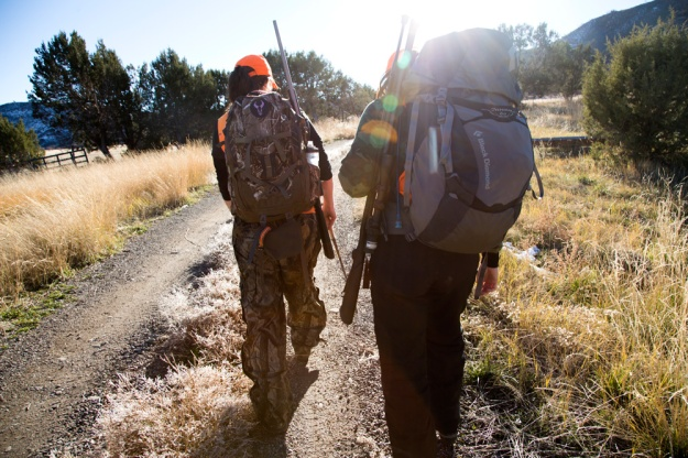 Katie Richman and Laura Palmisano head out for an evening of hunting on private land on Grand Mesa in Colorado.